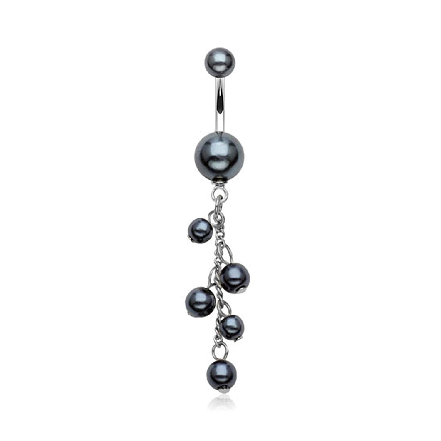 Long belly piercing  West Coast Jewelry Pearl Coated Navel Belly Button Ring Pearlish
