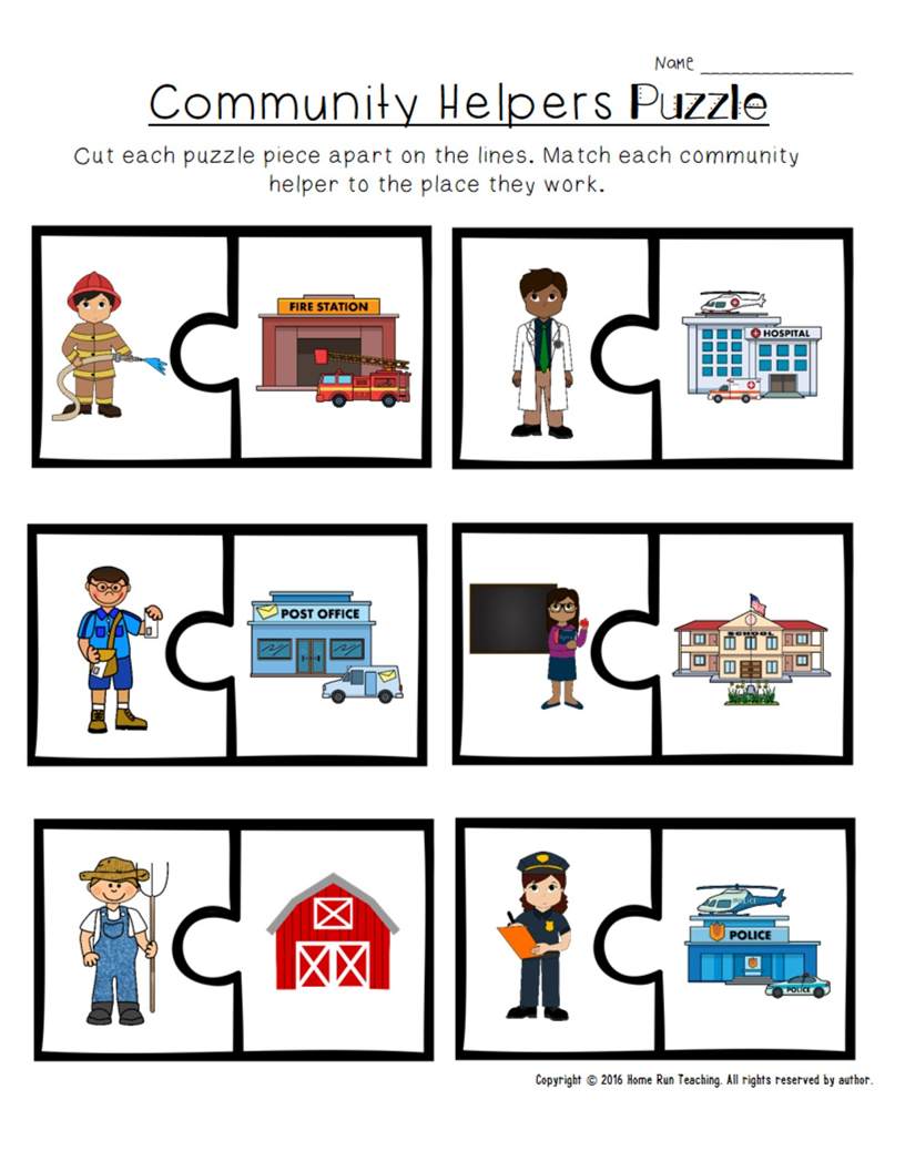 Worksheets Community Helpers Worksheets community helpers unit math and literacy packet craft wall craft
