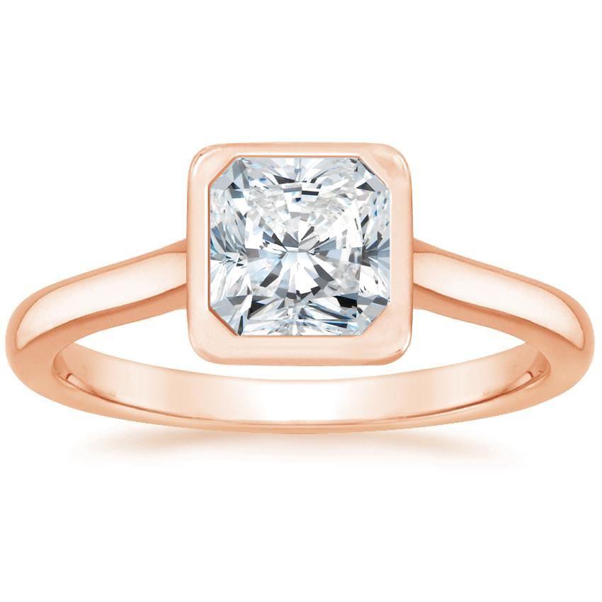 Radiant Cut Luna Bezel Set Diamond Engagement Ring - 14K Rose Gold