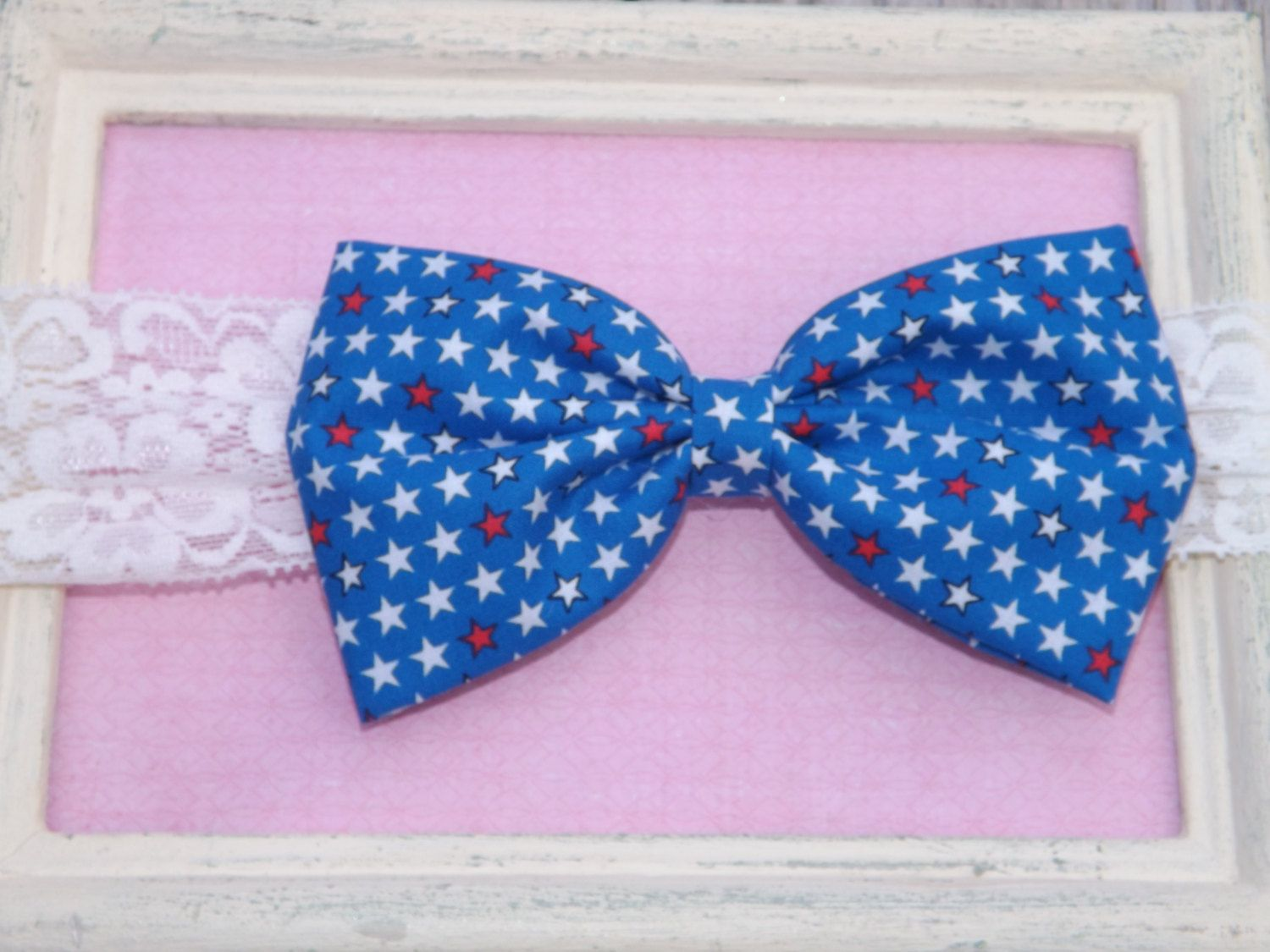 July 4th Fabric Bow Lace Headband.  Red, White, and Blue Independence Day Bow.  Fabric Bow Depot Patriotic Americana Collection. by TheFabricBowDepot on Etsy