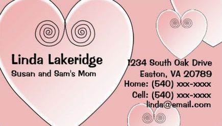 Cute Light Pink Hearts Mommy Contact Information Calling Card Business Cards http://www.zazzle.com/pink_heart_mommy_contact_info_card_double_sided_standard_business_cards_pack_of_100-240973642401864744?rf=238835258815790439&tc=GBCMommy1Pin