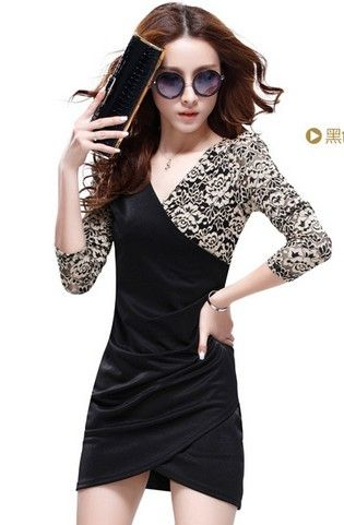 Korean Style V-neck Lace Sleeve Slim Dress Black US$ 5.94http://www.global-wholesale.net/Korean-Style-V-neck-Lace-Sleeve-Slim-Dress-Black_g34300.html