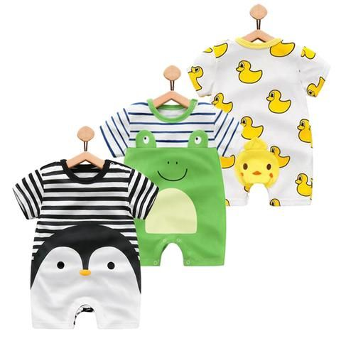 4eae71212be 100% Pure Cotton Baby Girl Romper Summer Short Sleeved Cartoon Animal  Jumpsuit Toddler Cute Boutique Clothes For Baby Boys Girls