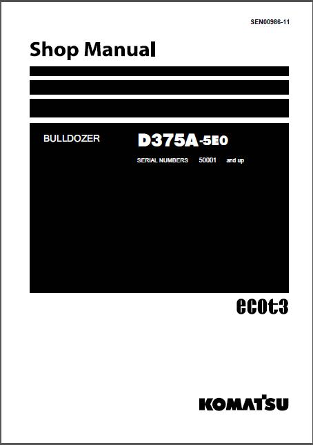 Download Komatsu Bulldozer D375a 5 D375a 5e0 Service Repair Shop Manual In 2020 Komatsu Bulldozer Repair Shop