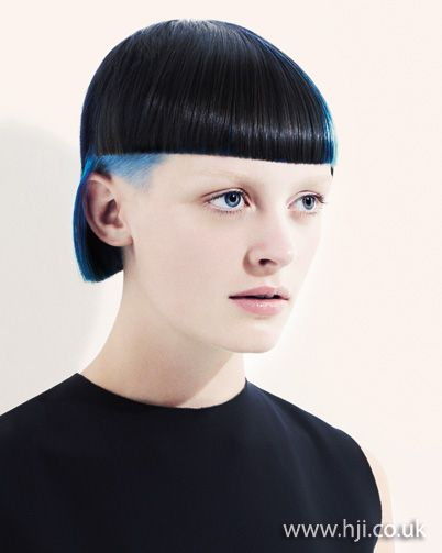 2012 blue short hairstyle    A blue bob with shaved undercuts on either side was prepped with a combination of smoothing cr�me and serum and blow-dried using a paddle brush to achieve a straight finish. Once dry, hair was smoothed over with straighteners to enhance the cut.     Hairstyle by: Saco creative team  Hairstyle picture by: David Oldham  Location: London