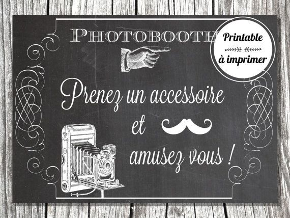 affiche photobooth imprimer par sweetycreations sur etsy photobooth pinterest mariage. Black Bedroom Furniture Sets. Home Design Ideas