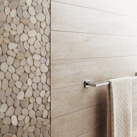 Carrelage sol et mur beige, Taiga l15 x L90 cm Salle de bain