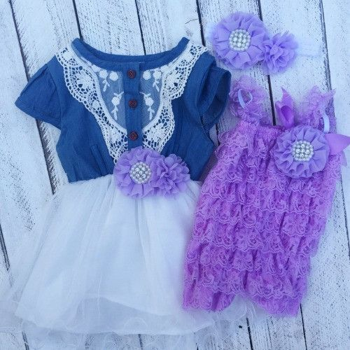 6ec2d922c746 This matching sister dress/outfit set comes with a denim cowgirl inspired  dress and purple