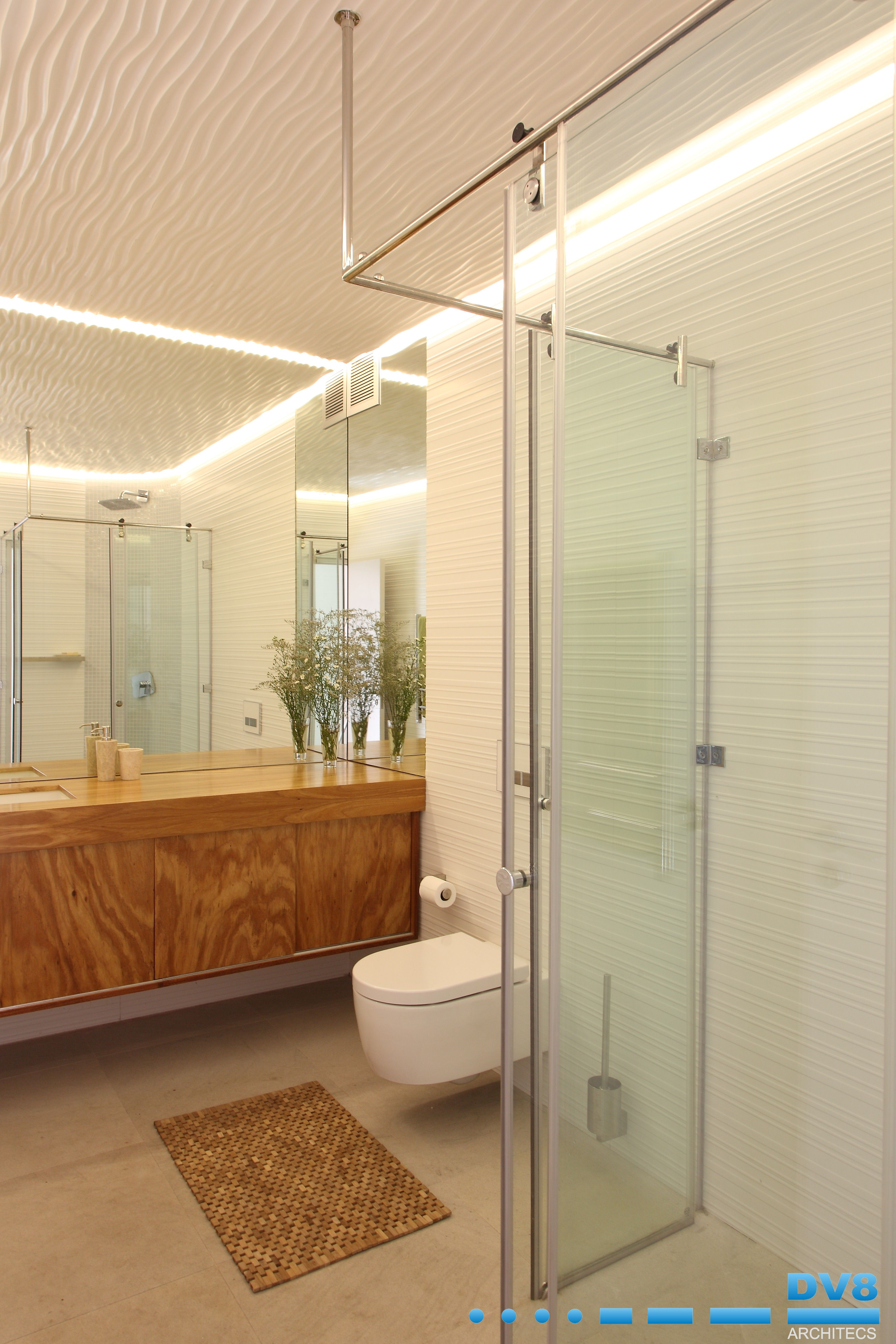 strata inspired bathroom with textured valchromat ceiling panels