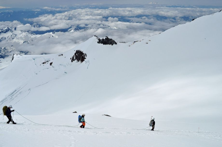 Mt. Rainier June 2011...That is me in the middle with my rope team.  Two 21 year olds and our guide.