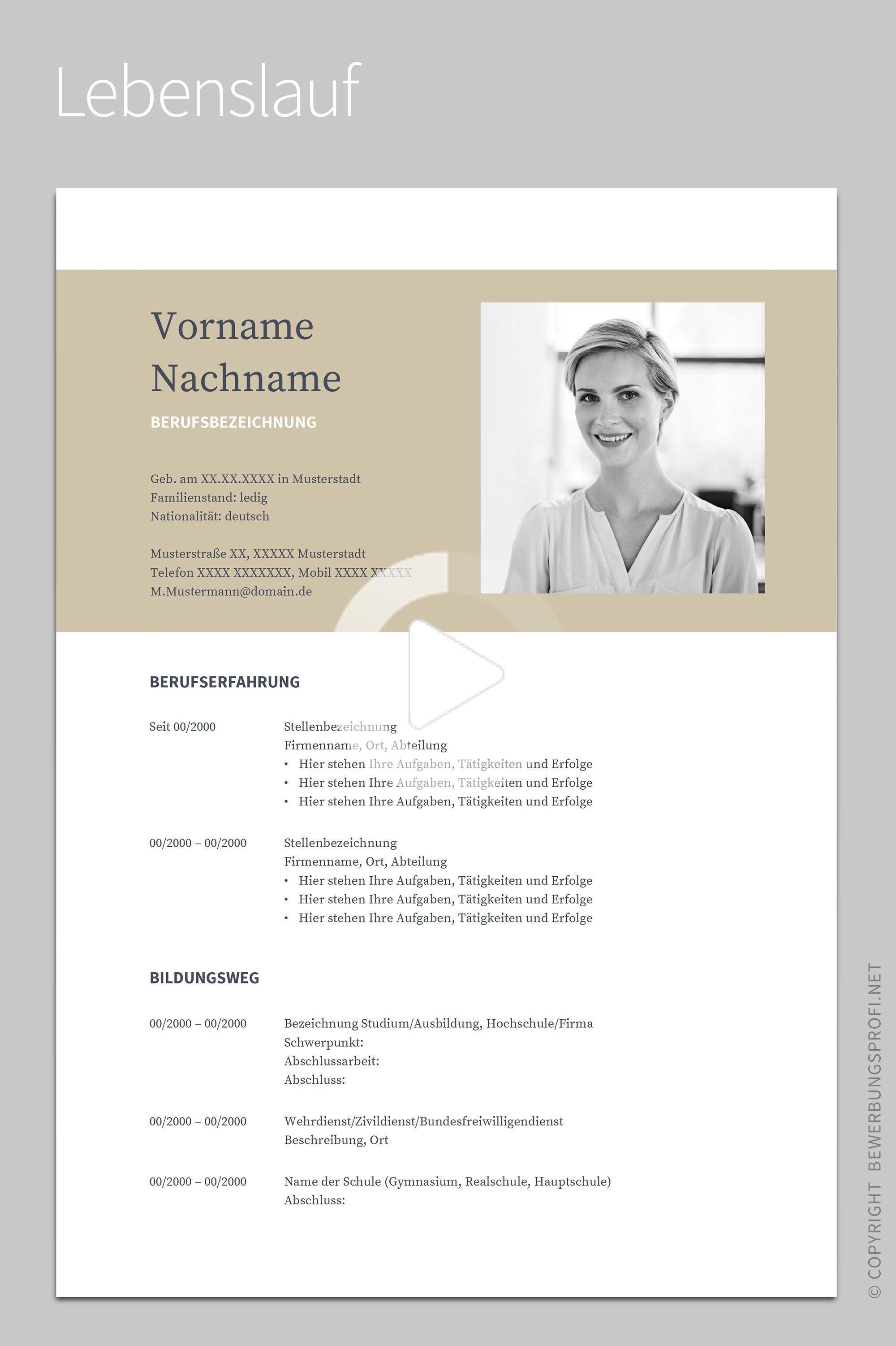 Bewerbung »Napea« mit Lebenslauf Deutsch Vorlage