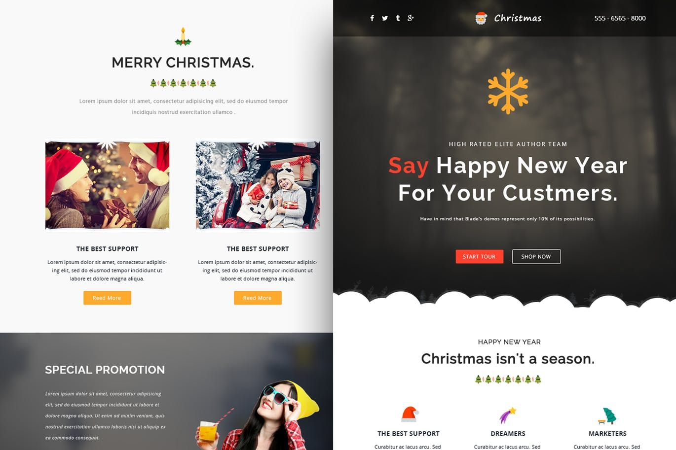 Christmas Responsive Email Template + Online Build HTML, PSD | Email ...