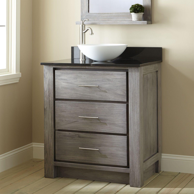30 inch bathroom vanity with sink. 30  Venica Teak Vessel Sink Vanity Gray Wash sink