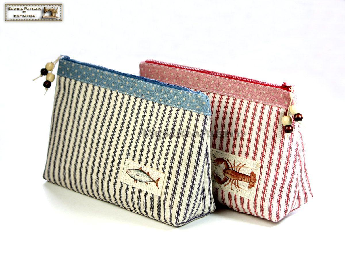 Cosmetic bag sewing pattern, makeup bag pattern, zippered