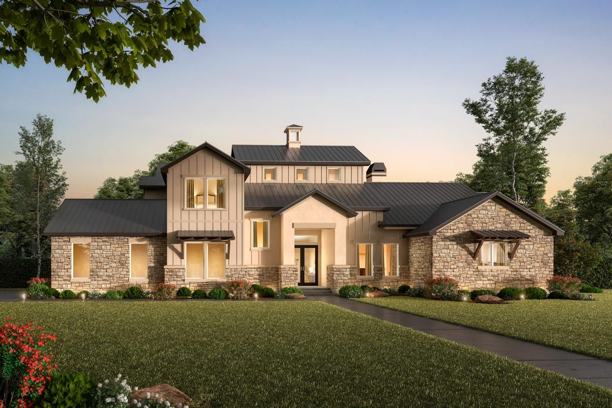 Plan 54024lk Exclusive 3 Bed Hill Country Home Plan With Optional Bonus Tower In 2021 Hill Country Homes Country Home Exteriors Country House Plans