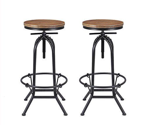 Vilavita Set Of 2 Adjustable Height Pine Wood Swivel Bar Stool Retro Finish Wooden Seat And Wrought Iron Frame B Bar Stools Bar Chairs Kitchen Wood Bar Stools
