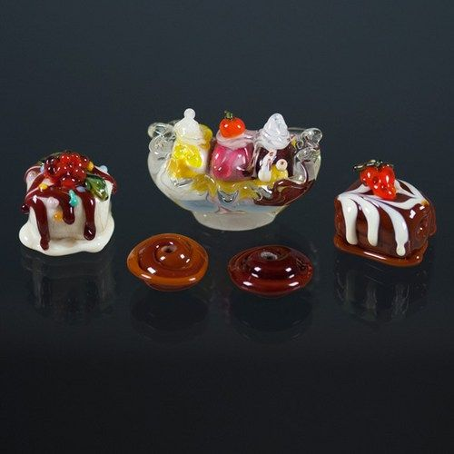Glass Lampwork Beads - Glass Chocolates, Candy, Banana Split Ice Cream
