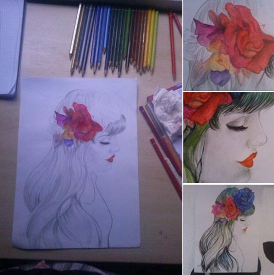 Dibujo A Lapices Acuarelables De Una Chica Con Una Corona De Flores Lapices De Acuarela Dibujos Aprender A Pintar