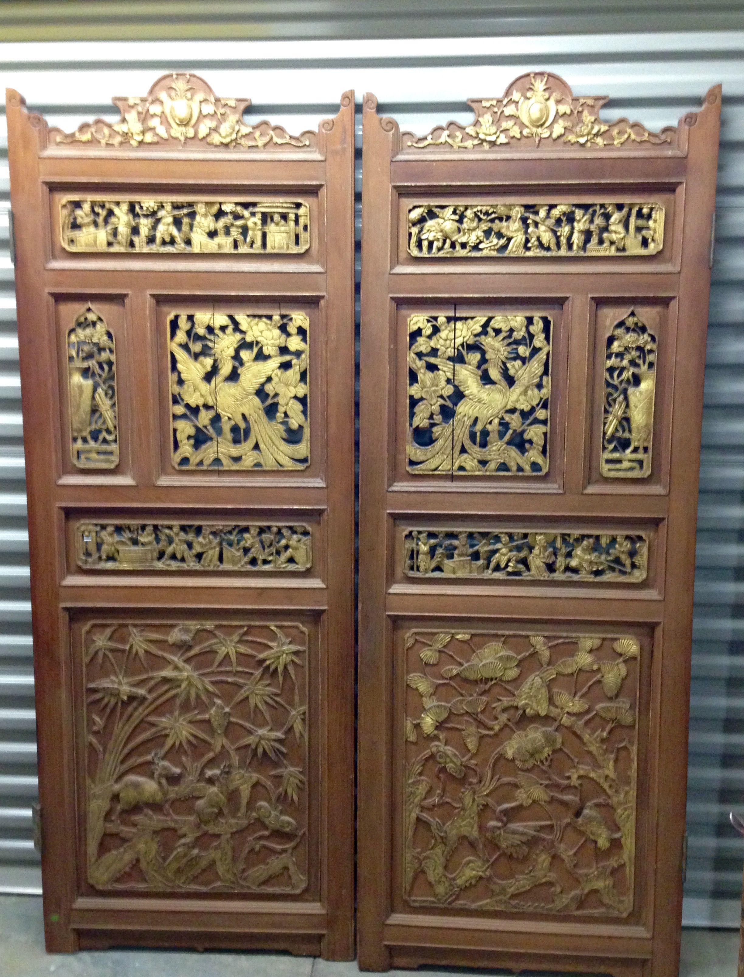 Pair Of Antique Pintu Page Swing Doors Brown And Gold