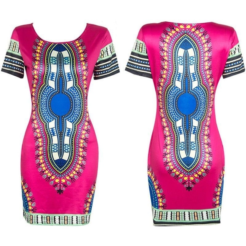 be165084b5e Women Traditional African Print Dashiki Bodycon Sexy Short Sleeve Dress  NOTE  Please compare the detail sizes with yours before you buy!