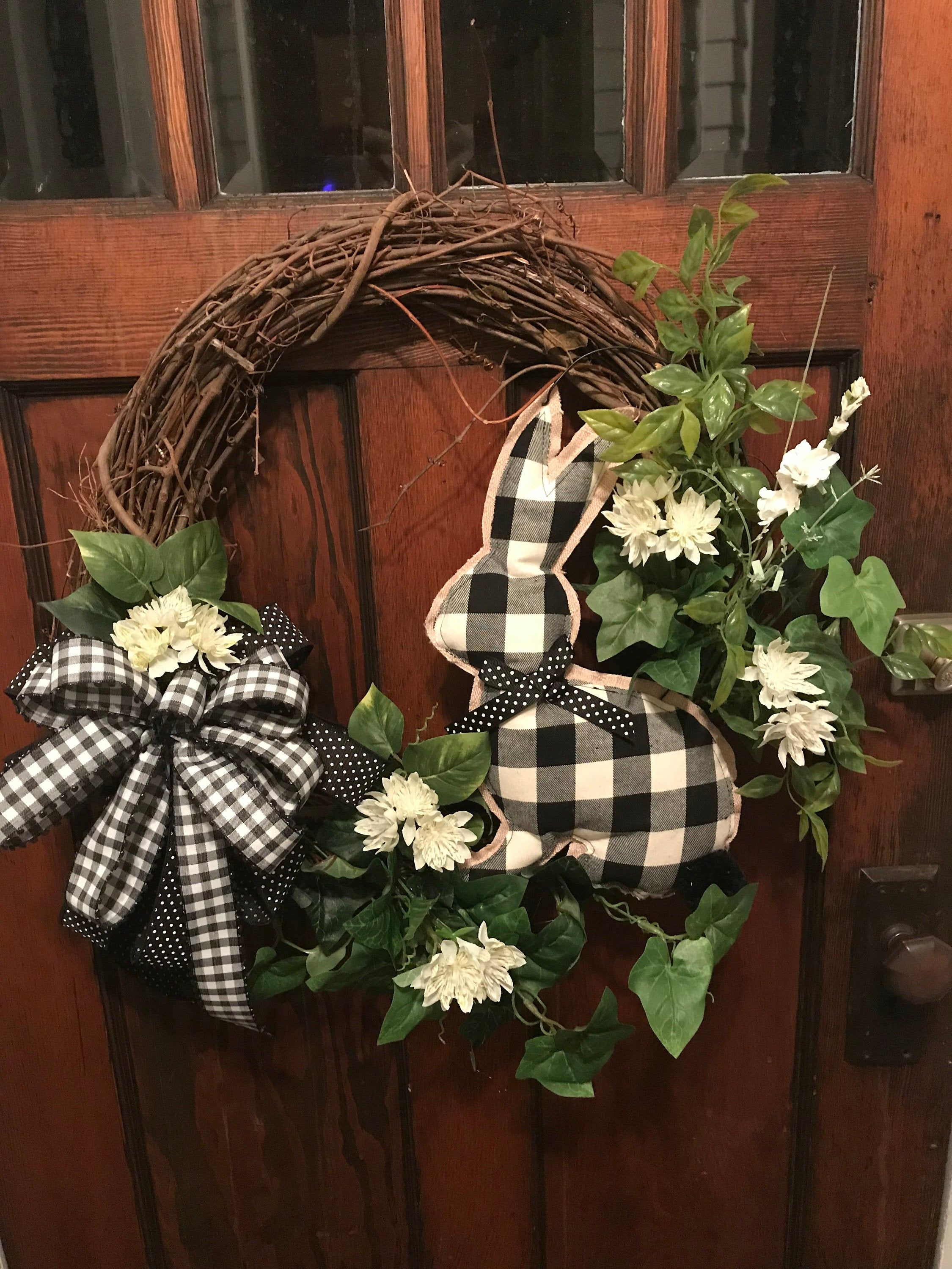 Photo of Best Seller! Black and white plaid bow & bunny Floral Accents Elegant Grapevine …