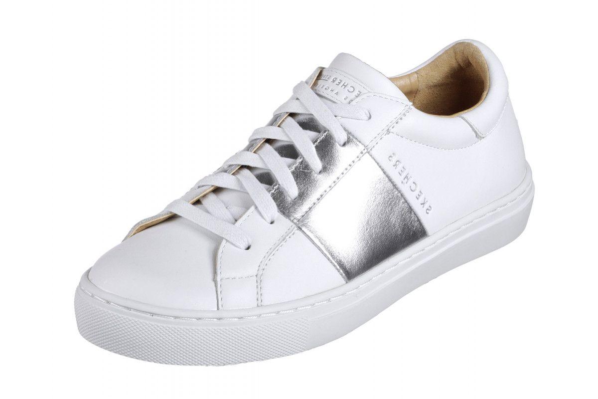 3d997d98 Skechers Side Street Banded White Silver Leather Memory Foam Trainers