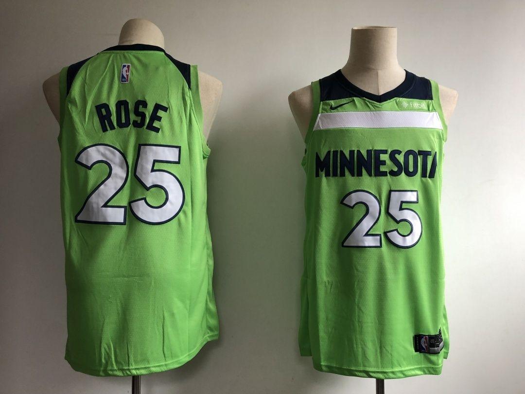 Mens Nike Minnesota Wolves Green Rose 25 Jersey allstars