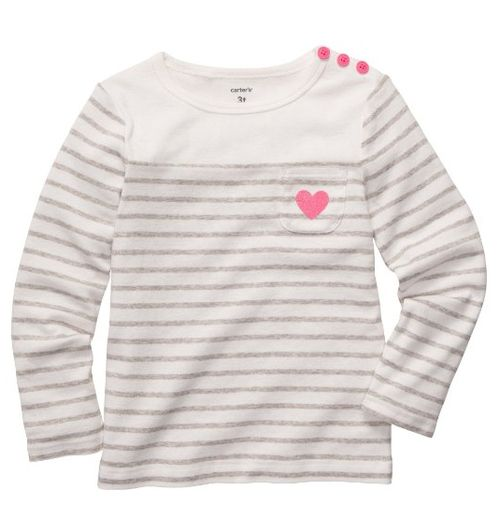 Carters Stripe Heart & Button Top