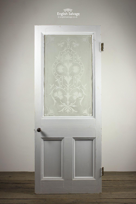 Reclaimed Single Panel Etch Glazed Front Door Etched Glass Door Front Door Paneling
