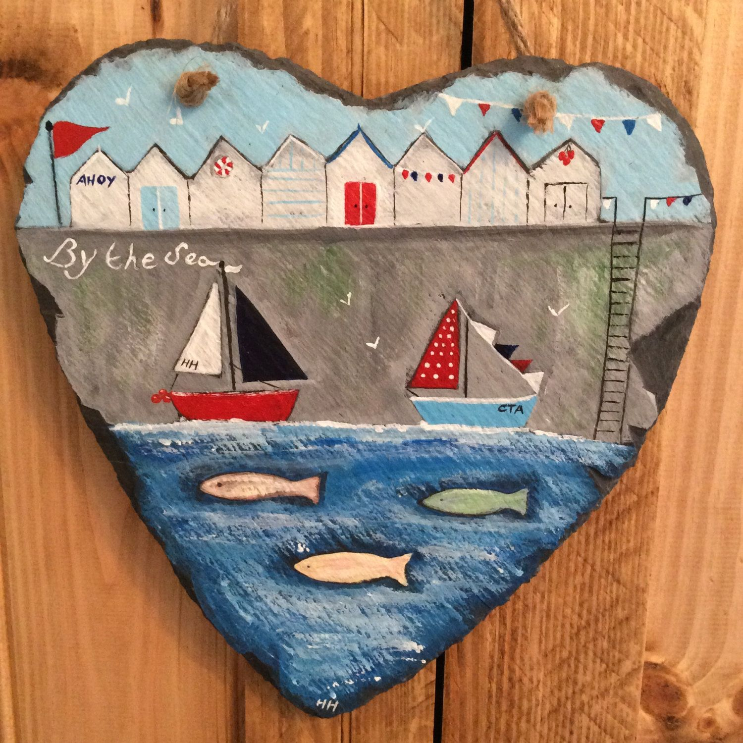Row of beach huts curved fused glass table clock - By The Sea Hand Painted Slate Art Heart Seaside Nautical Beach Huts Boats Fish Bunting By Coastal Treasure Art