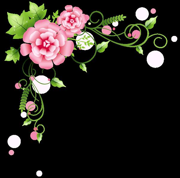 Corner Floral Decoration Png Clipart Picture Png 600 595 Seni Bunga Ornamen