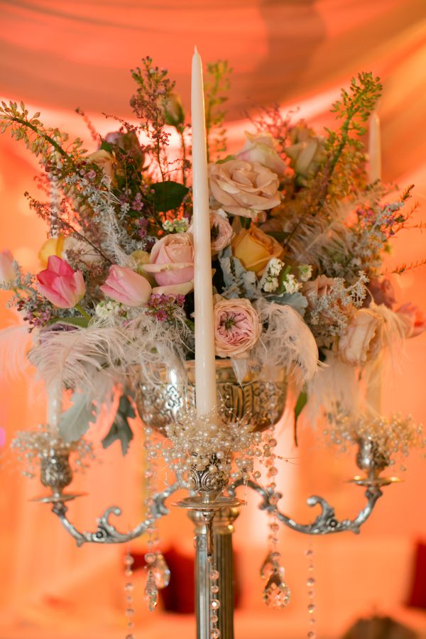 Gorgeous centerpiece from Diamond Rental and Utah Events by Design. Love the feathers!