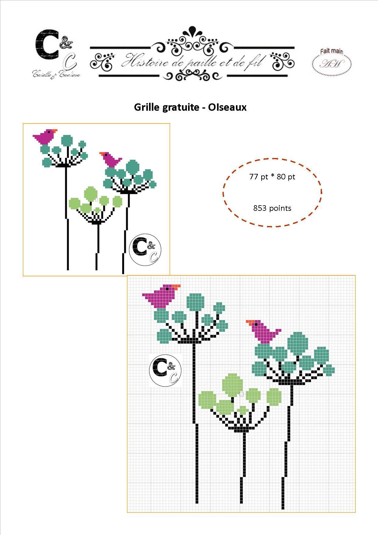 Grille gratuite - Oiseaux | Broderie | Pinterest | Punto de cruz ...