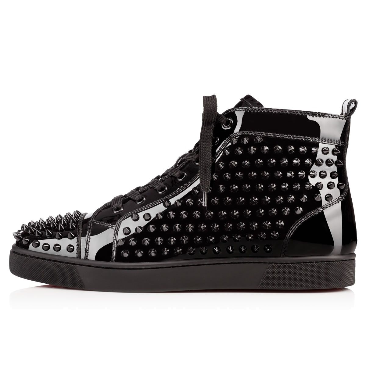 Louis Spikes Men's Flat BLACK/BLACK LUCIDO Patent - Men Shoes - Christian  Louboutin