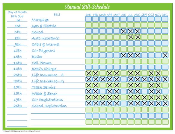 organize monthly bills on pinterest