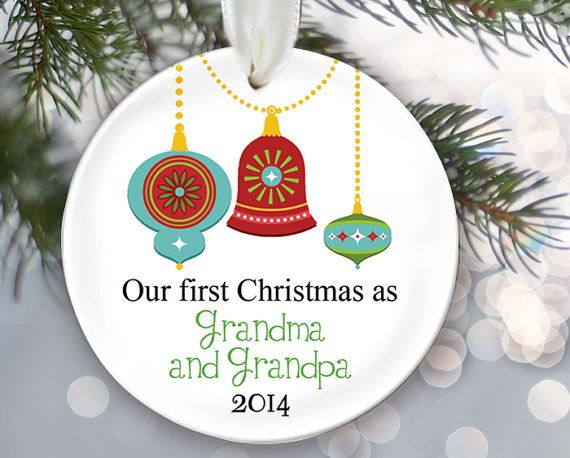 Nana and Papa Ornament Our first Christmas as by LilStinkerDesign