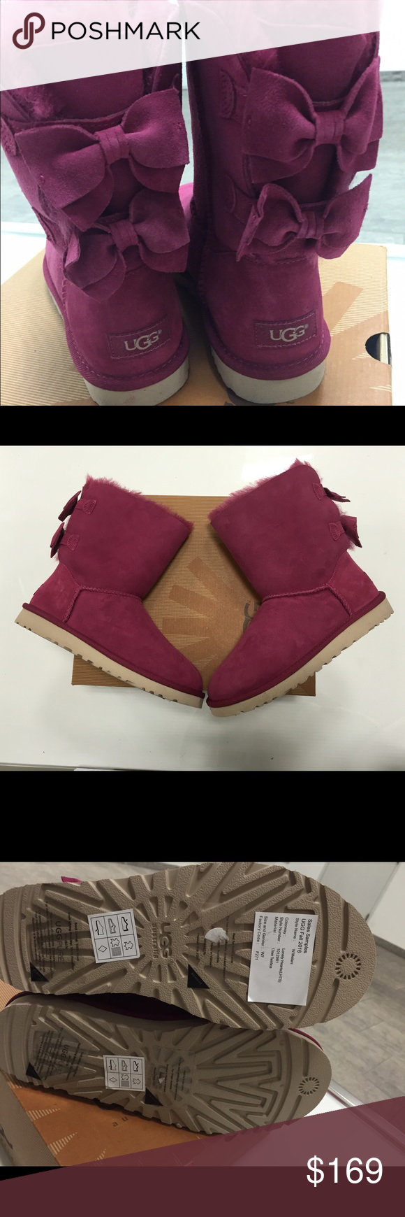 Ugg Meilani bow boots size 7 new Ugg Meilani bow boots size 7 .new without box ..New Fall 2016 item ..still selling full price at Nordstrom and all other department stores 100%Authentic ..please note these are a sample from Ugg australia so they do not have the logo hologram as it was removed to prevent returns ...100%authentic ✨ UGG Shoes Winter & Rain Boots