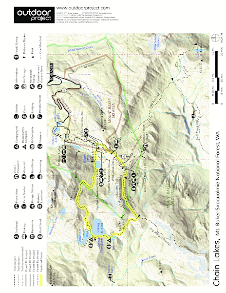 Chain Lakes Loop Trail Trail Map | Artist point, Trail ...