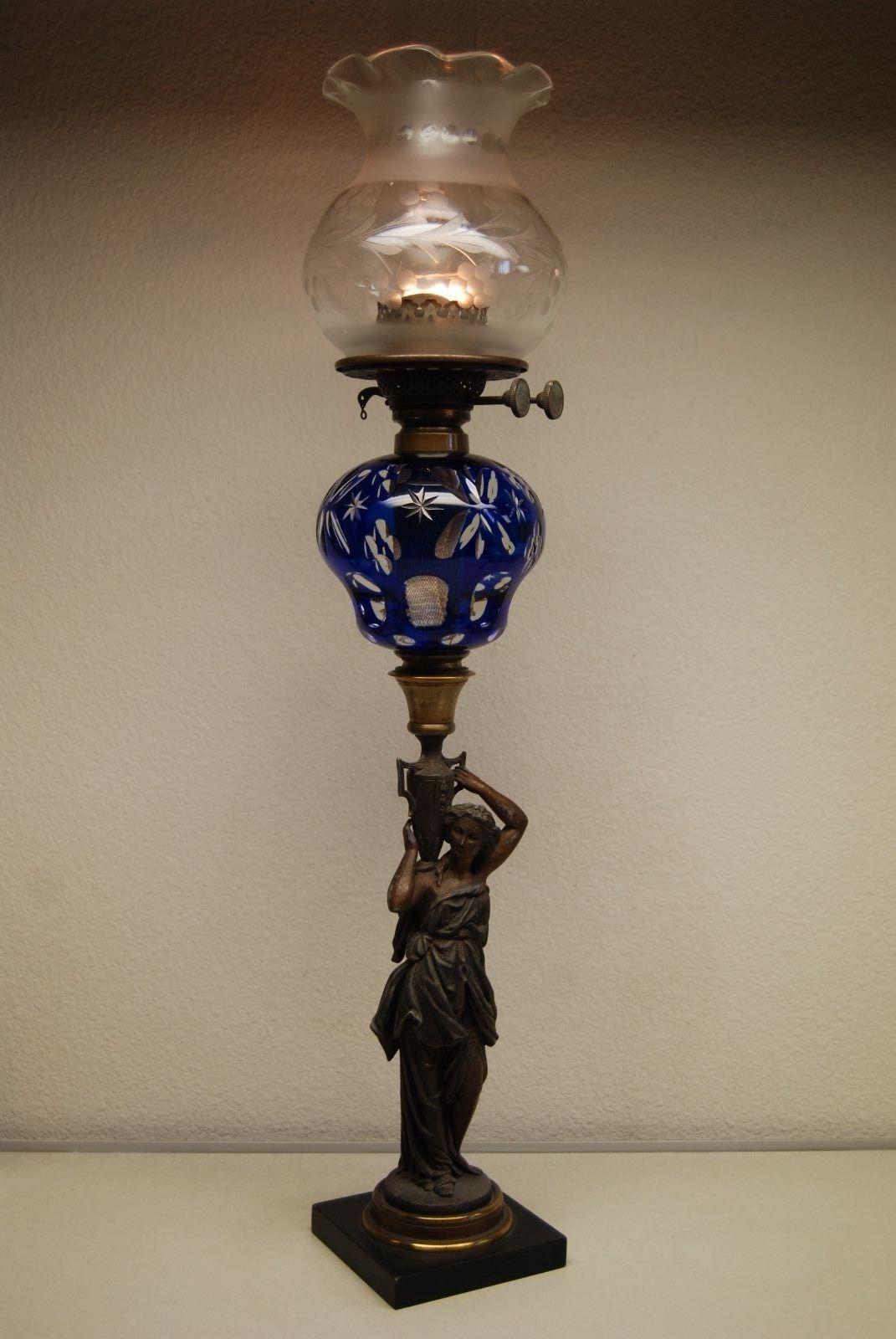 Details About Antique Boston Sandwich Cobalt Glass Kerosene Oil Banquet Gwtw Victorian Lamp Vintazhnye Lampy Kerosinovaya Lampa Lampa
