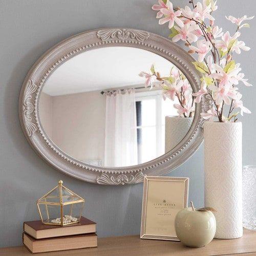 Specchio ovale beige con modanature effetto anticato H.65cm CHANTELLE