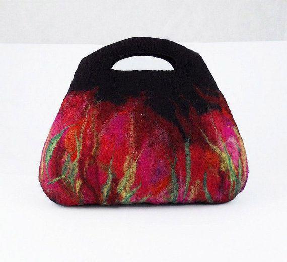 Black Felted Bag Felt Handbag Artistic Purse Red Nunofelt Bag Ruby Nuno felt Handbag fairy multicolor floral fantasy Fiber Art boho