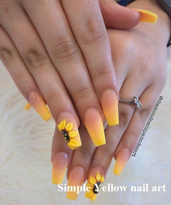 23 Great Yellow Nail Art Designs 2020 Naildesigns Nailart In 2020 Yellow Nails Design Short Acrylic Nails Designs Sunflower Nail Art