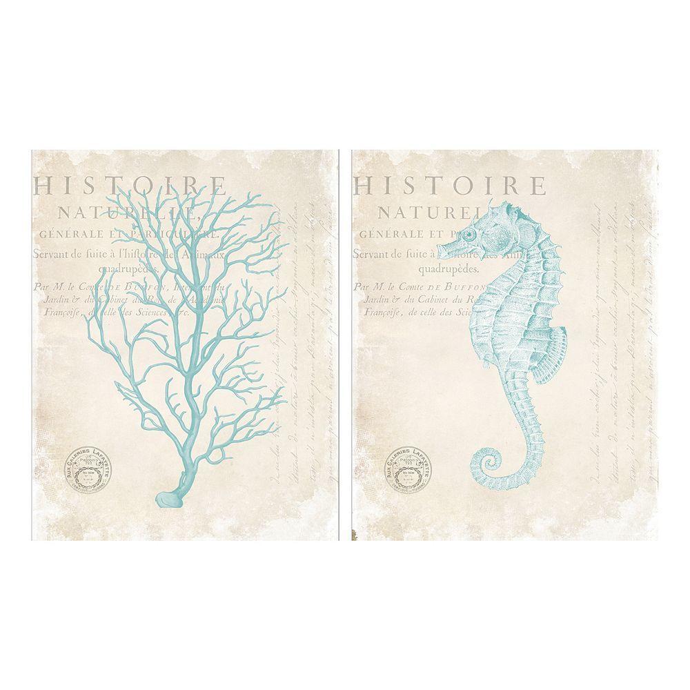 Blue coral u seahorse canvas wall art piece set seahorses
