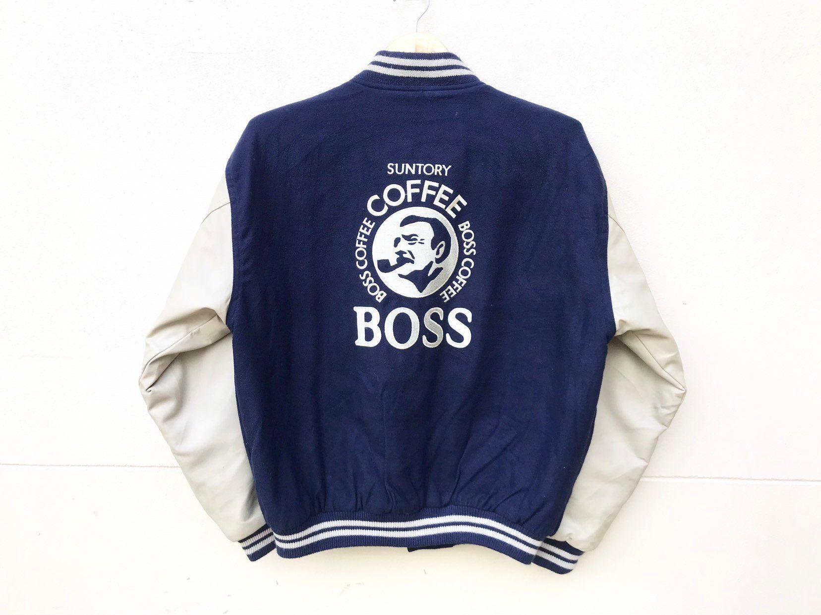 6ce9bc375 Vintage Suntory Boss Coffee varsity jacket, Big logo band (size M-L ...