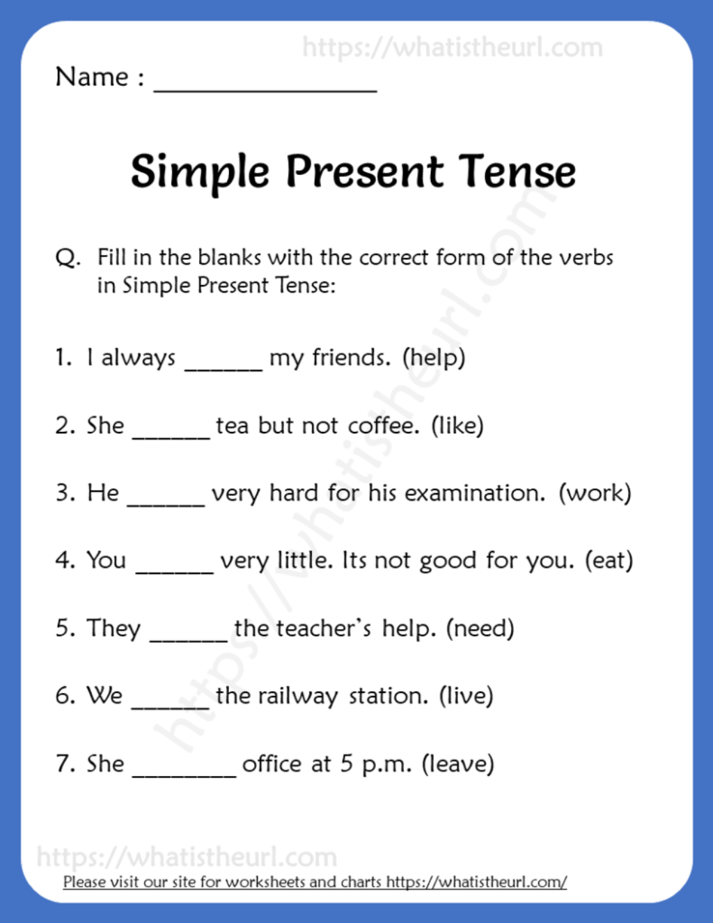 Simple Present Tense Worksheets For Grade 3