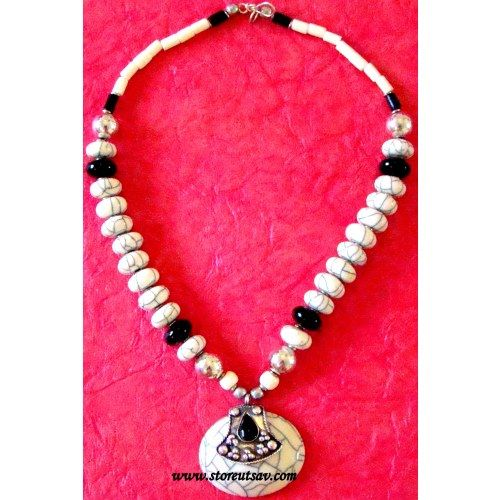 Necklace handmade tibetan tribal white stone pendant with turkmen buy necklace handmade tibetan tribal white stone pendant with turkmen silver tribal jewellery online shopping for necklaces by store utsav online aloadofball Image collections