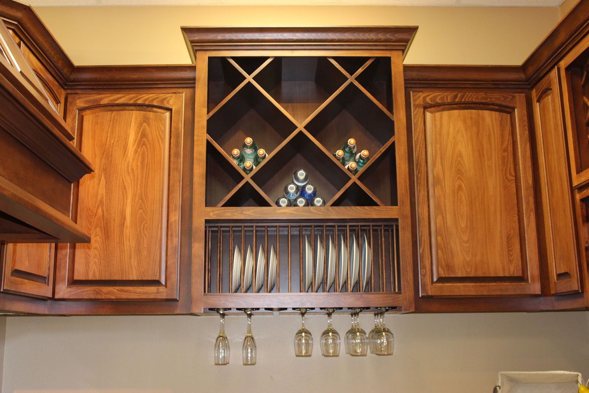 Wine Racks In Kitchen Cabinets Kitchen With Built In Big X Wine Rack Over Plate Rack And Stemware