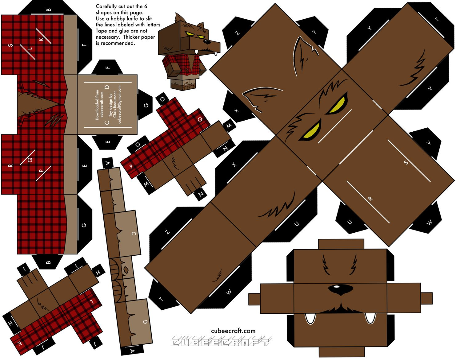 Wolfman Cubeecraft | Paper Craft~Halloween | Pinterest