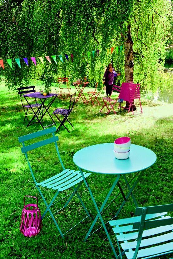 Chaise Bistro : Lagune   Vivre au jardin   Mobilier jardin ...