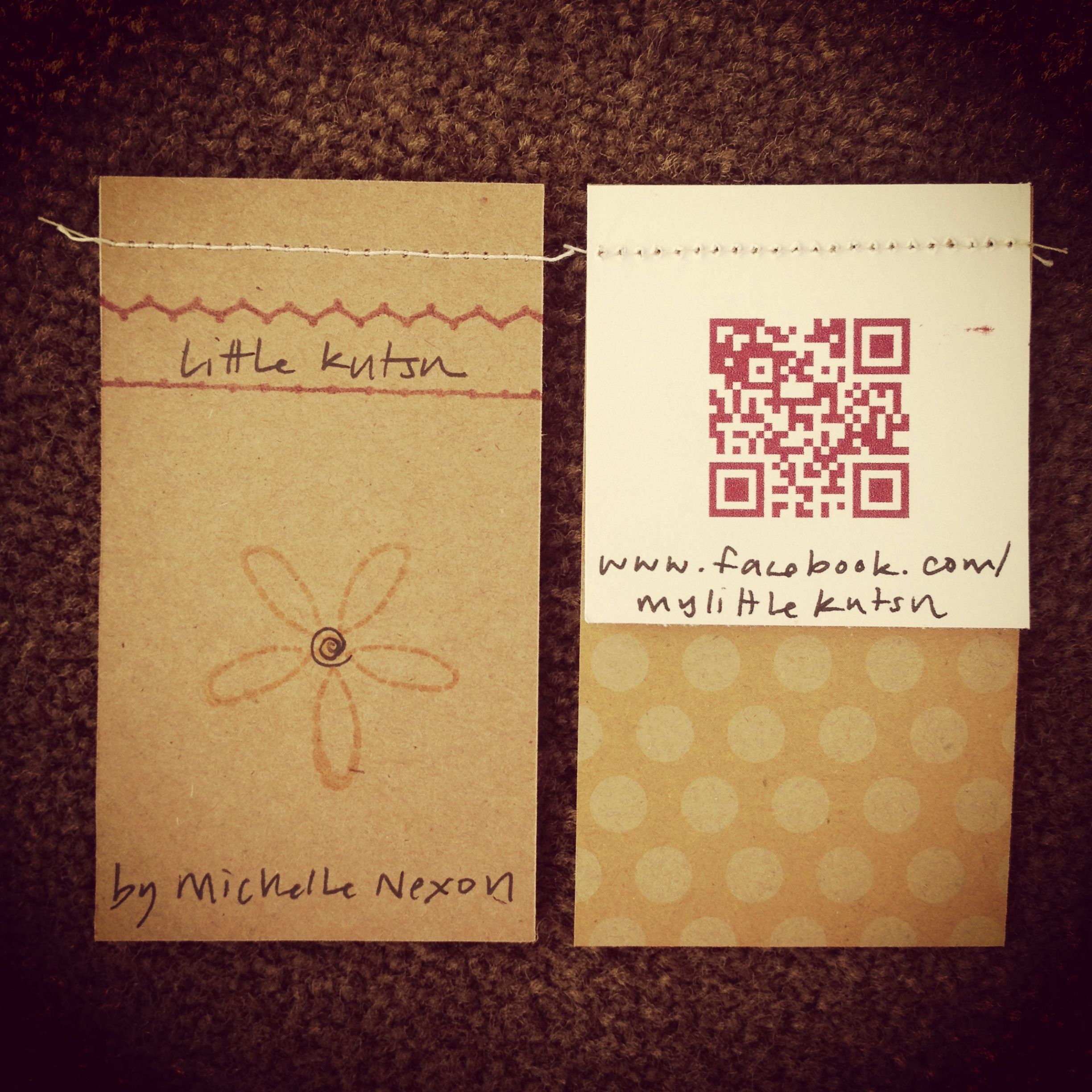 business cards sewing crafty qr code